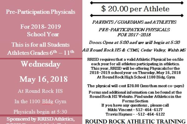 RRHS Physicals Scheduled for May 16th